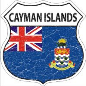 Cayman Islands Flag Highway Shield Novelty Metal Magnet