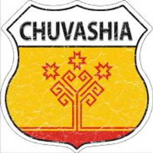 Chuvashia Flag Highway Shield Novelty Metal Magnet