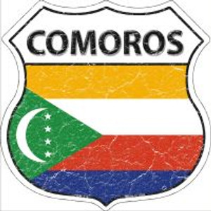 Comoros Flag Highway Shield Novelty Metal Magnet