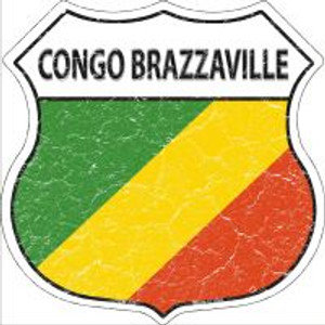 Congo Brazzaville Flag Highway Shield Novelty Metal Magnet