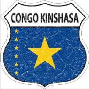 Congo Kinshasa Flag Highway Shield Novelty Metal Magnet
