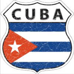 Cuba Flag Highway Shield Novelty Metal Magnet