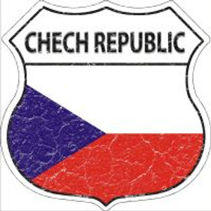 Chech Republic Flag Highway Shield Novelty Metal Magnet