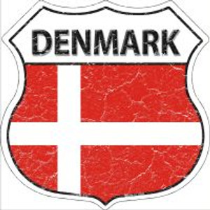 Denmark Flag Highway Shield Novelty Metal Magnet