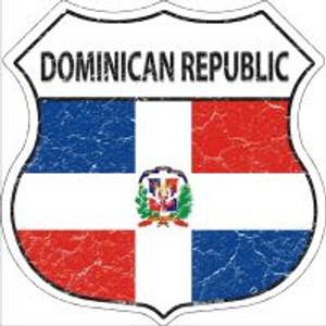 Dominican Republic Flag Highway Shield Novelty Metal Magnet