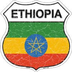 Ethiopia Flag Highway Shield Wholesale Novelty Metal Magnet HSM-245