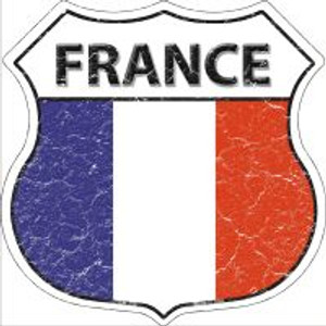 France Flag Highway Shield Novelty Metal Magnet