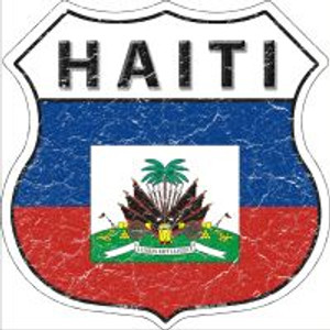 Haiti Flag Highway Shield Novelty Metal Magnet