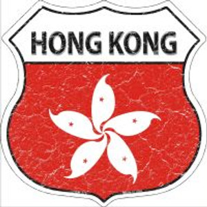 Hong Kong Flag Highway Shield Novelty Metal Magnet