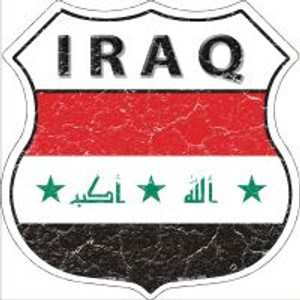 Iraq Flag Highway Shield Novelty Metal Magnet