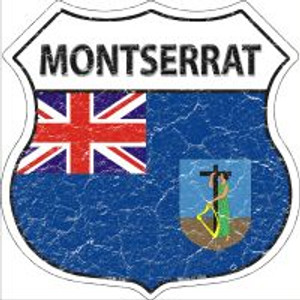 Montserrat Flag Highway Shield Novelty Metal Magnet
