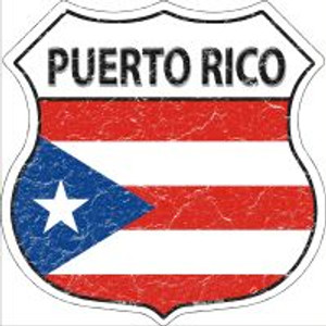Puerto Rico Flag Highway Shield Novelty Metal Magnet