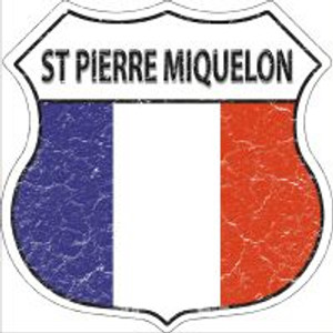 St Pierre Miquelon Flag Highway Shield Novelty Metal Magnet