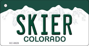 Skier Colorado Background Wholesale Metal Novelty Key Chain KC-9929