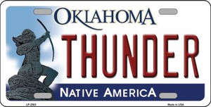 Thunder Oklahoma Novelty State Background Wholesale Metal License Plate LP-2583