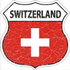 Switzerland Flag Highway Shield Novelty Metal Magnet