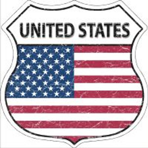 United States Flag Highway Shield Novelty Metal Magnet