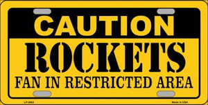 Caution Rockets Fan Wholesale Metal Novelty License Plate LP-2602