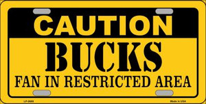 Caution Bucks Fan Wholesale Metal Novelty License Plate LP-2608