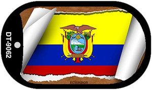 "Ecuador Country Flag Scroll Dog Tag Kit 2"" Wholesale Metal Novelty Necklace"