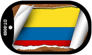"Colombia Country Flag Scroll Dog Tag Kit 2"" Wholesale Metal Novelty Necklace"