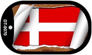 "Denmark Country Flag Scroll Dog Tag Kit 2"" Wholesale Metal Novelty Necklace"