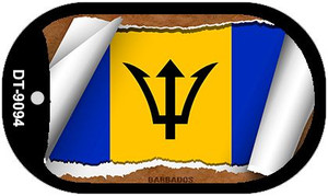 "Barbados Country Flag Scroll Dog Tag Kit 2"" Wholesale Metal Novelty Necklace"