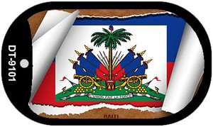 """Haiti Country Flag Scroll Dog Tag Kit 2"""" Wholesale Metal Novelty Necklace"""