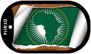 "Africa Union Country Flag Scroll Dog Tag Kit 2"" Wholesale Metal Novelty Necklace"