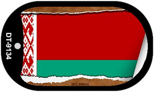 "Belarus Country Flag Scroll Dog Tag Kit 2"" Wholesale Metal Novelty Necklace"
