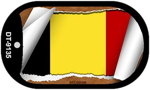 "Belgium Country Flag Scroll Dog Tag Kit 2"" Wholesale Metal Novelty Necklace"