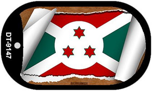 "Burundi Country Flag Scroll Dog Tag Kit 2"" Wholesale Metal Novelty Necklace"