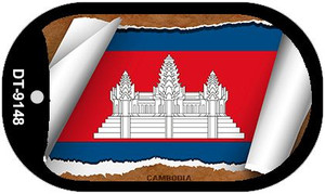 "Cambodia Country Flag Scroll Dog Tag Kit 2"" Wholesale Metal Novelty Necklace"