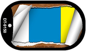 "Canary Islands Country Flag Scroll Dog Tag Kit 2"" Wholesale Metal Novelty Necklace"