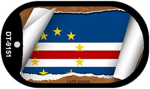 "Cape Verde Country Flag Scroll Dog Tag Kit 2"" Wholesale Metal Novelty Necklace"