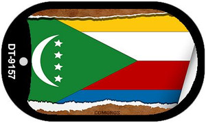 "Comoros Country Flag Scroll Dog Tag Kit 2"" Wholesale Metal Novelty Necklace"
