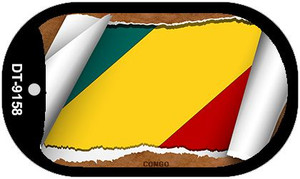 "Congo Country Flag Scroll Dog Tag Kit 2"" Wholesale Metal Novelty Necklace"