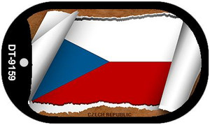 "Czech Republic Country Flag Scroll Dog Tag Kit 2"" Wholesale Metal Novelty Necklace"