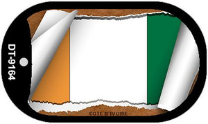 "Cote D Ivoire Country Flag Scroll Dog Tag Kit 2"" Wholesale Metal Novelty Necklace"