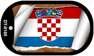 "Croatia Country Flag Scroll Dog Tag Kit 2"" Wholesale Metal Novelty Necklace"