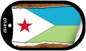 "Djibouti Country Flag Scroll Dog Tag Kit 2"" Wholesale Metal Novelty Necklace"