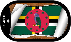 "Dominica Country Flag Scroll Dog Tag Kit 2"" Wholesale Metal Novelty Necklace"