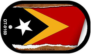 "East Timor Country Flag Scroll Dog Tag Kit 2"" Wholesale Metal Novelty Necklace"