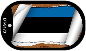 "Estonia Country Flag Scroll Dog Tag Kit 2"" Wholesale Metal Novelty Necklace"