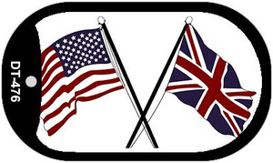 "United States Britain Crossed Flag Country Flag Dog Tag Kit 2"" Wholesale Metal Novelty Necklace"