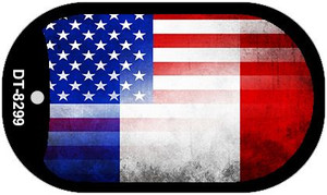 """American France Flag Country Flag Dog Tag Kit 2"""" Wholesale Metal Novelty Necklace"""