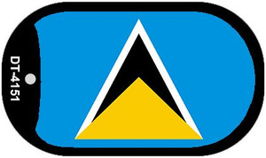 """St Lucia Flag Country Flag Dog Tag Kit 2"""" Wholesale Metal Novelty Necklace"""