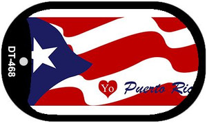 """I Love Puerto Rico Flag Country Flag Dog Tag Kit 2"""" Wholesale Metal Novelty Necklace"""