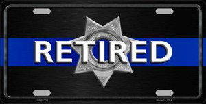 Thin Blue Line Retired Police Wholesale Metal Novelty License Plate