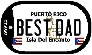 "Best Dad Puerto Rico Flag Dog Tag Kit 2"" Wholesale Metal Novelty Necklace"